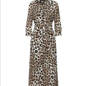 Leopard Print Maxi Shirtdress-Banana Republic